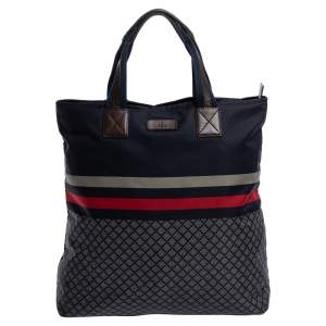 Gucci Dark Blue Web Diamante Print Nylon Tall Zip Tote
