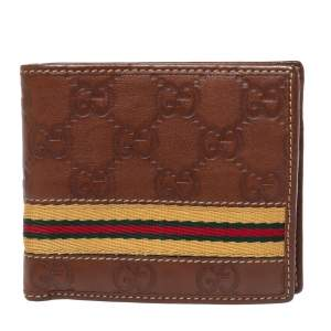 Gucci Brown Guccissima Leather Web Bifold Wallet