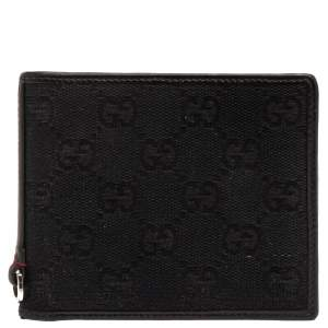 Gucci Black GG Canvas Web Bi-Fold Wallet
