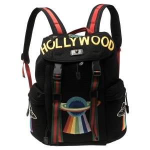 حقيبة ظهر غوتشي مطرزة هوليود قماش شبك سوداء