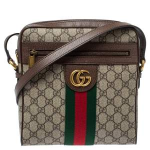Gucci Brown/Beige GG Supreme Canvas and Leather Small Ophidia Messenger Bag