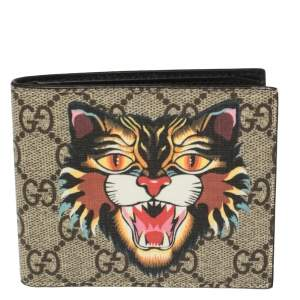 Gucci Beige GG Supreme Canvas Angry Cat Bifold Wallet