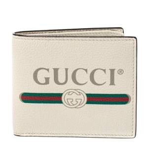 Gucci Off White Leather Logo Bifold Wallet