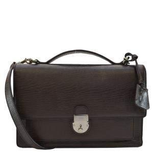 حقيبة مستندات غوتشي يد علوية و قلاب جلد بني