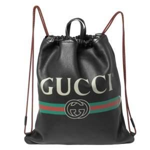 حقيبة ظهر غوتشي مزينة شعار الماركة رباط  جلد مُحبب ناعم أسود
