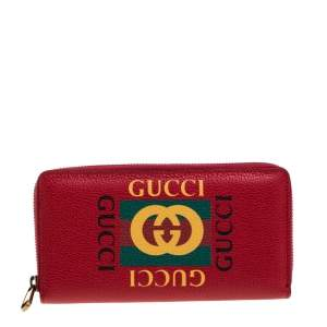 Gucci Red Grained Leather Logo Zip Around Continental Wallet
