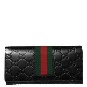 Gucci Black Guccissima Leather Web Wallet