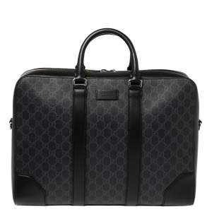 Gucci Black/Grey GG Supreme Canvas and Leather Large Briefcase