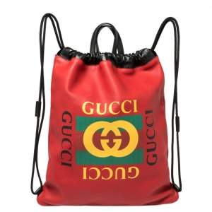 Gucci Red Leather Logo Drawstring Backpack
