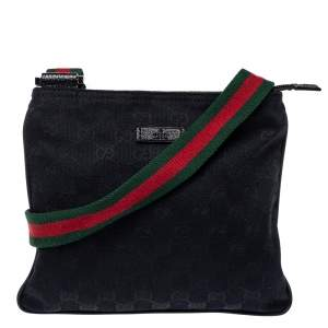 Gucci Navy Blue GG Canvas Small Vintage Web Messenger Bag