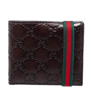 Gucci Dark Brown Guccissima Leather Web Detail Bifold Wallet