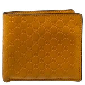 Gucci Mustard Yellow Leather Microguccissima Bifold Wallet