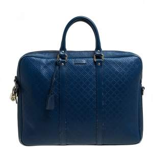 Gucci Blue Bright Diamante Leather Medium Briefcase