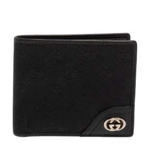 محفظة غوتشي كانفاس جي جي وجلد سوداء ثنائية الطي