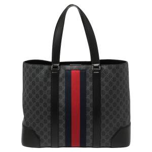 Gucci Black/Grey GG Supreme Canvas and Leather Web Tote