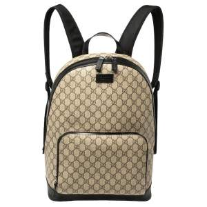Gucci Beige/Black GG Supreme Canvas and Leather Eden Backpack
