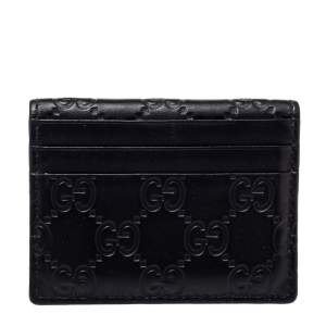 Gucci Black Guccissima Leather Bifold Card Holder