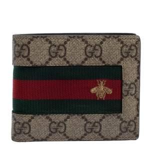 Gucci Beige GG Supreme Canvas Signature Web Bifold Wallet