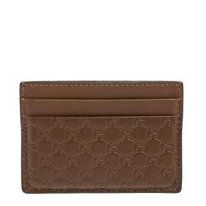 Gucci Brown Microguccissima Leather Card Holder