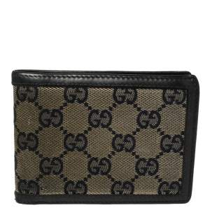 Gucci Beige/Navy Blue GG Canvas and Leather Bifold Wallet