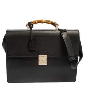 حقيبة مستندات غوتشي يد بامبو جلد أسود
