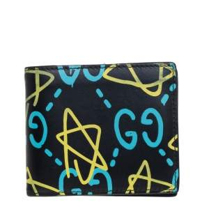 Gucci Black Leather GG Ghost Bifold Wallet
