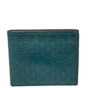 Gucci Turquoise Microguccissima Patent Leather Bifold Wallet