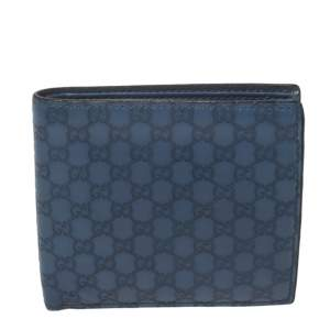 Gucci Blue Microguccissima Leather Bifold Wallet