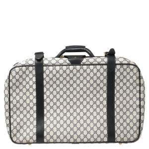 Gucci Navy Blue GG Supreme and Leather Trim Vintage Handheld Suitcase