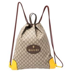 Gucci Beige/Mustard GG Supreme Canvas and Leather Neo Vintage Drawstring Backpack