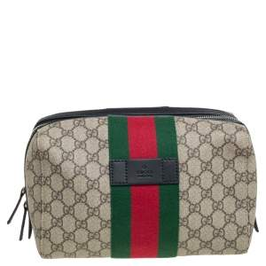 Gucci Black/Beige GG Supreme and Leather Web Toiletry Pouch