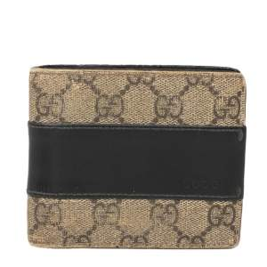 Gucci Black/Beige GG Supreme and Leather Bifold Wallet