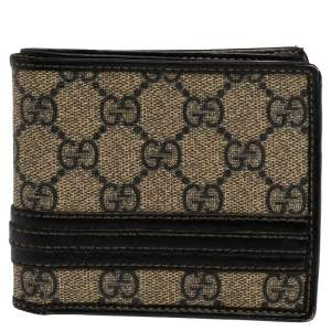 Gucci Beige/Black GG Supreme Canvas and Leather Bifold Wallet