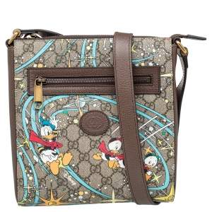Gucci x Disney Beige GG Supreme Canvas and Leather Donald Duck Messenger Bag