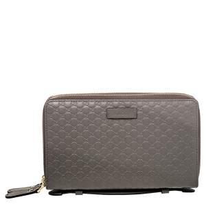 Gucci Grey Micro Guccissima Leather Double Zip Around Organizer Clutch