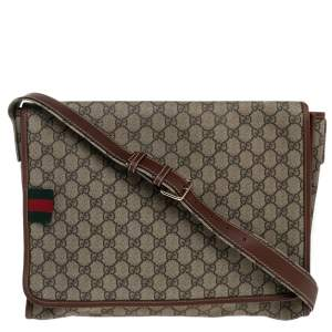Gucci Beige/Brown GG Supreme Canvas and Leather Web Messenger Bag