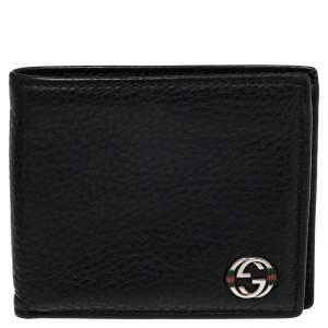 Gucci Black Leather Web Interlocking G Bifold Wallet