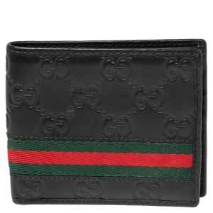 Gucci Black Guccissima Leather Web Bifold Wallet
