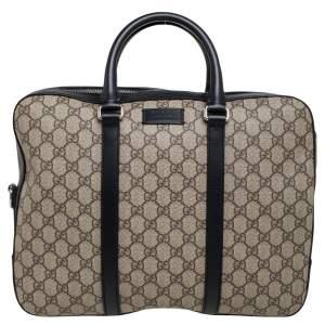 Gucci Black/Beige GG Supreme and Leather Briefcase