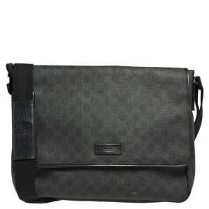 Gucci Black GG Supreme Canvas and Leather Flap Messenger Bag