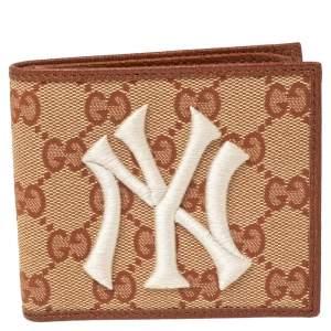 Gucci Beige/Brown GG Canvas New York Yankees Patch Bifold Wallet