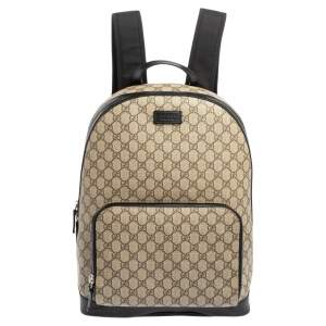 Gucci Beige/Black GG Supreme Canvas and Leather Backpack