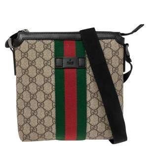 Gucci Beige/Ebony GG Supreme Canvas Web Flat Messenger Bag