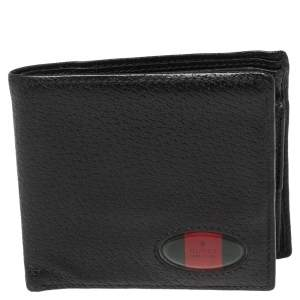 Gucci Black Grained Leather Web Logo Bifold Wallet