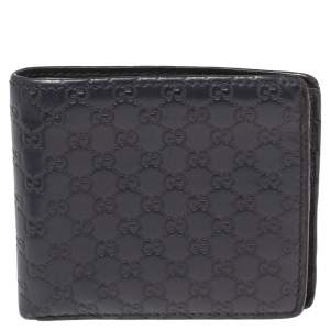 Gucci Navy Blue Microguccissima Leather Bifold Wallet