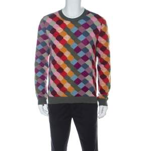 Gucci Multicolor Wool Argyle Knit Sweater XL
