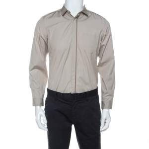 Gucci Beige Cotton Concealed Placket Detail Long Sleeve Shirt M