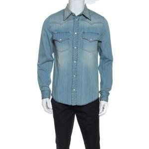 Gucci Blue Denim L'Aveugle Par Amour Snake Embroidered Shirt M