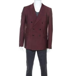 Gucci Burgundy Mohair Blend Double Breasted Blazer XXL