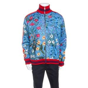 Gucci Blue New Floral Print Jersey Track Jacket XL